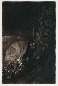Bewaffnung in einem Gewölbe - Armement sous une Voûte - feuillet 4 du cycle La Guerre des Paysans - Käthe Kollwitz 1906