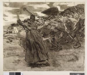Losbruch - Déclenchement - feuillet 5 du cycle Bauernkrieg - Guerre des paysans - Käthe Kollwitz 1902-1903 - Exposition Soulèvements au Jeu de Paume