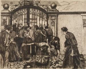 Sturm - Assaut - feuillet 5 du cycle la révolte des Tisserands - Käthe Kollwitz 1893-97